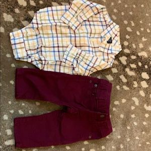 Boy's buttons-down onesie and jeans set
